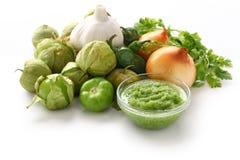 Verde de la salsa, cocina mexicana Foto de archivo libre de regalías