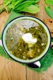 Verde de la sopa del alazán y de la espinaca con crema agria Foto de archivo libre de regalías