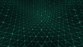 Verde de las conexiones del modelo de rejilla de la distorsión ilustración del vector