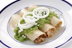 Verde de los enchiladas del pollo Fotografía de archivo