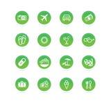 Verde de los iconos del recorrido Fotografía de archivo