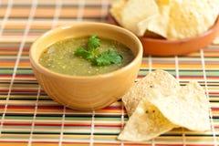 Verde de Salsa de Tomatillo, cuisine mexicaine Images stock