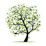 Verde del árbol del resorte con los pájaros para su diseño Foto de archivo