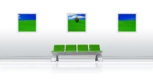 Verde del asiento del aeropuerto Imagen de archivo