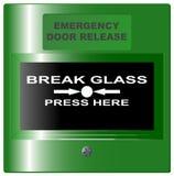 Verde del bottone di rilascio della porta di sicurezza Fotografia Stock Libera da Diritti