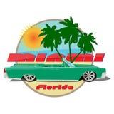 Verde del cabriolet della Cadillac dell'automobile di Miami Florida illustrazione vettoriale