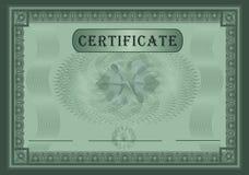 Verde del certificado Imagen de archivo libre de regalías