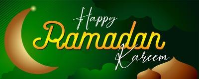 Verde del día de fiesta del kareem del Ramadán y pendiente islámicos del oro ilustración del vector
