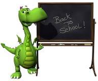 Verde del drago del bambino di Dino di nuovo allo spazio in bianco del banco Fotografia Stock