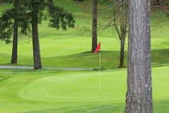 Verde del golf con el Pin rojo fotografía de archivo
