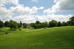 Verde del golf en el campus de la universidad. Imagen de archivo libre de regalías