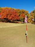 Verde del golf en otoño foto de archivo libre de regalías