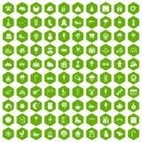 verde del hexágono de los iconos de los partidos de 100 niños libre illustration