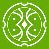 Verde del icono del escudo Imagenes de archivo