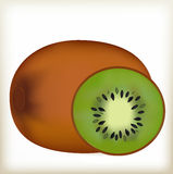 Verde del kiwi, una cáscara marrón, una fruta madura, Fotos de archivo