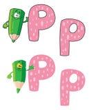 Verde del lápiz de la letra P Fotos de archivo