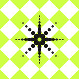 Verde del modello delle piastrelle di ceramica del pavimento con la stella nera Immagini Stock Libere da Diritti