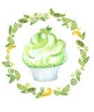 Verde del muffin dell'acquerello rotondo Fotografia Stock Libera da Diritti
