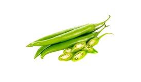 Verde del peperoncino isolato su un fondo bianco Immagine Stock Libera da Diritti