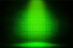 Verde del pirata informatico di codice binario del riflettore Fotografie Stock