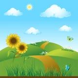 Verde del prato, estate, sunflowe illustrazione vettoriale