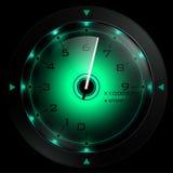 Verde del tachimetro isolato sul nero Fotografia Stock