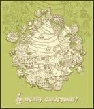 Verde del tema de la Navidad del dibujo lineal Imagen de archivo libre de regalías