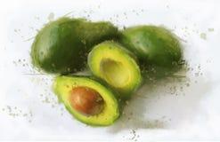 Verde dell'avocado sul bianco della tavola Fotografie Stock Libere da Diritti