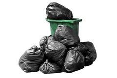 Verde dell'immondizia della borsa del recipiente, recipiente, rifiuti, immondizia, rifiuti, mucchio dei sacchetti di plastica iso Immagini Stock Libere da Diritti