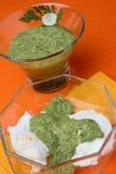 Verde della salsa e salsa della ricotta Fotografia Stock