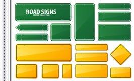 Verde della strada e segnale stradale giallo Bordo in bianco con il posto per testo Modello Segnale di informazione isolato senso royalty illustrazione gratis