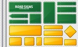 Verde della strada e segnale stradale giallo Bordo in bianco con il posto per testo Modello Segnale di informazione isolato senso illustrazione vettoriale