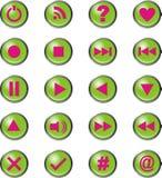 Verde delle icone di media di vettore Fotografia Stock
