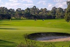 Verde, depósito e fairway do campo de golfe Imagens de Stock Royalty Free