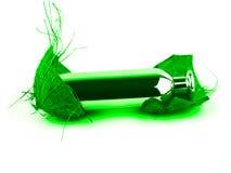 Verde di bottiglia del profumo Fotografia Stock Libera da Diritti