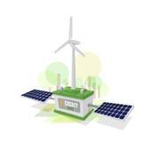 Verde di energia Vento ed energia solare Fotografia Stock