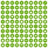 verde di esagono di 100 icone dei soldi Immagini Stock