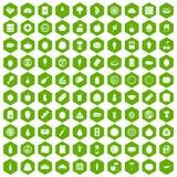 verde di esagono di 100 icone di nutrizione Immagini Stock Libere da Diritti