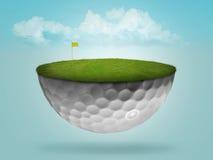 Verde di galleggiamento della sfera di golf illustrazione di stock
