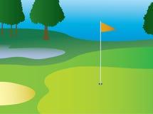 Verde di golf con la bandiera Fotografia Stock