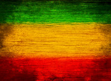 Verde di legno del fondo, giallo, rosso Immagini Stock Libere da Diritti