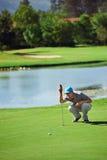 Verde di tiro in buca di golf Immagine Stock