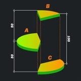 Verde diviso intorno a diargam con le note a piè di pagina illustrazione di stock