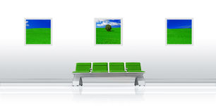 Verde do assento do aeroporto imagem de stock