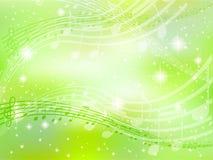 Verde do fundo da nota da música Fotografia de Stock Royalty Free