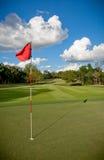 Verde do golfe com a bandeira de ondulação vermelha Foto de Stock