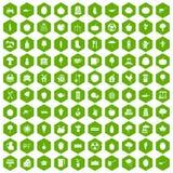 verde do hexágono de 100 ícones do alimento natural Foto de Stock