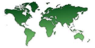 Verde do mapa de mundo Imagem de Stock