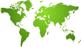 Verde do mapa de mundo Foto de Stock Royalty Free