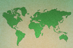Verde do mapa de mundo do vintage Fotos de Stock Royalty Free